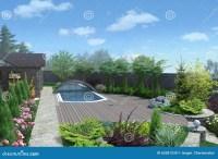Patio Living Space Arrangement, 3d Render Stock Photo ...