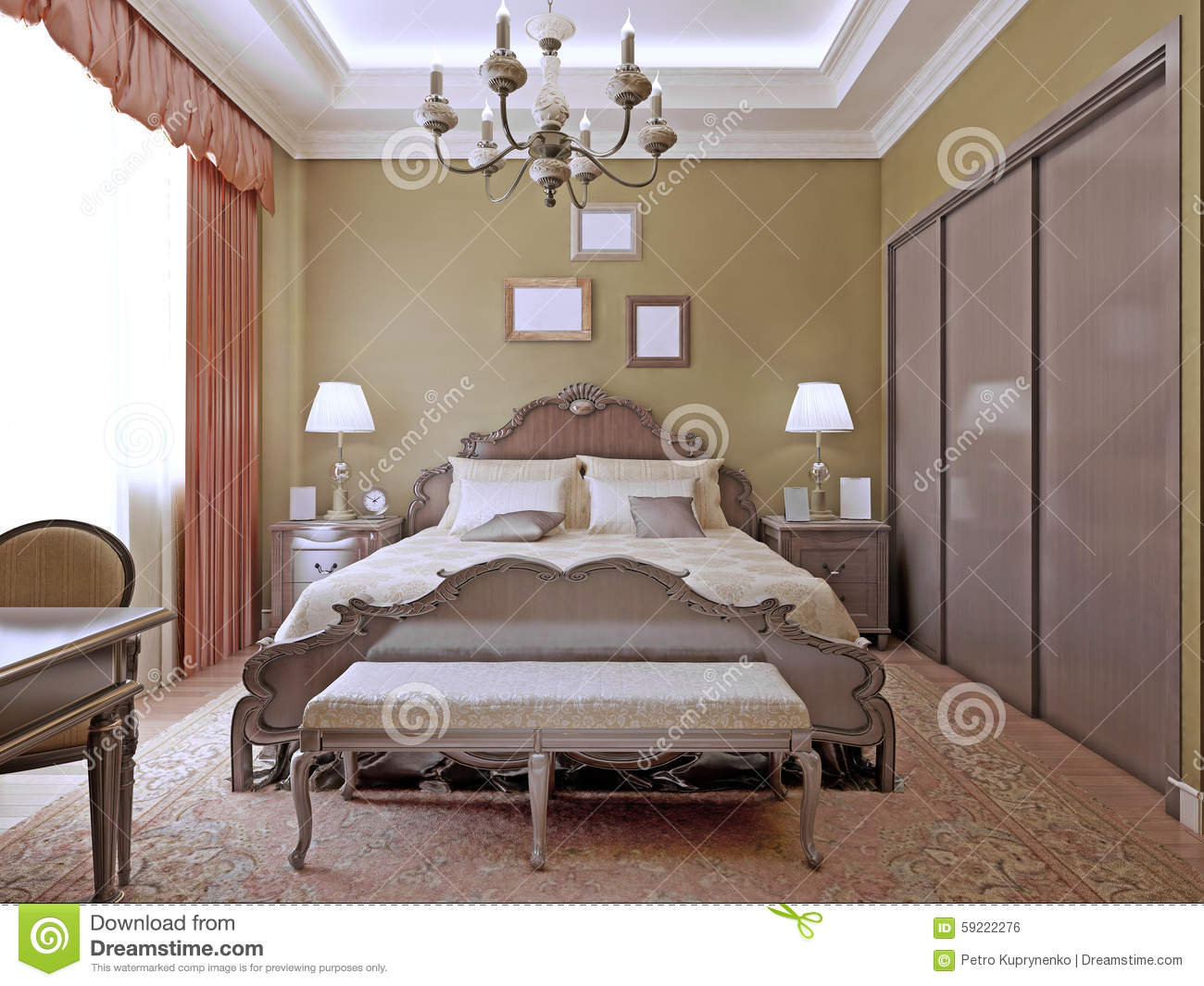 Art Deco Style Bedroom Art Deco Bedroom With Ceiling Neon Lights Stock Photo