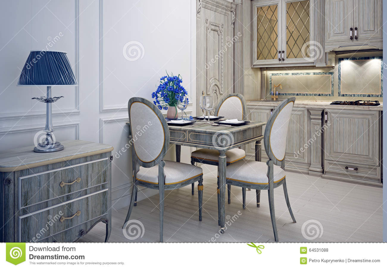 Art Deco Design Cuisine Art Deco Kitchen With Dining Stock Photo Image Of Classic