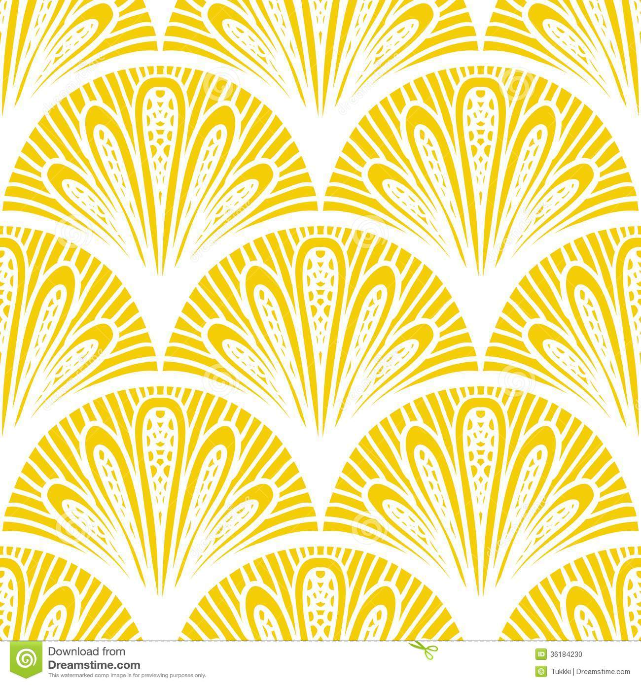 Art Nouveau Yellow Art Deco Vector Geometric Pattern In Bright Yellow Stock Vector