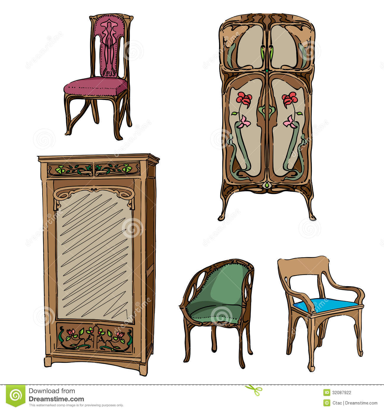 Art Nouveau Möbel Art Nouveau Colored Furniture Stock Illustration Illustration Of