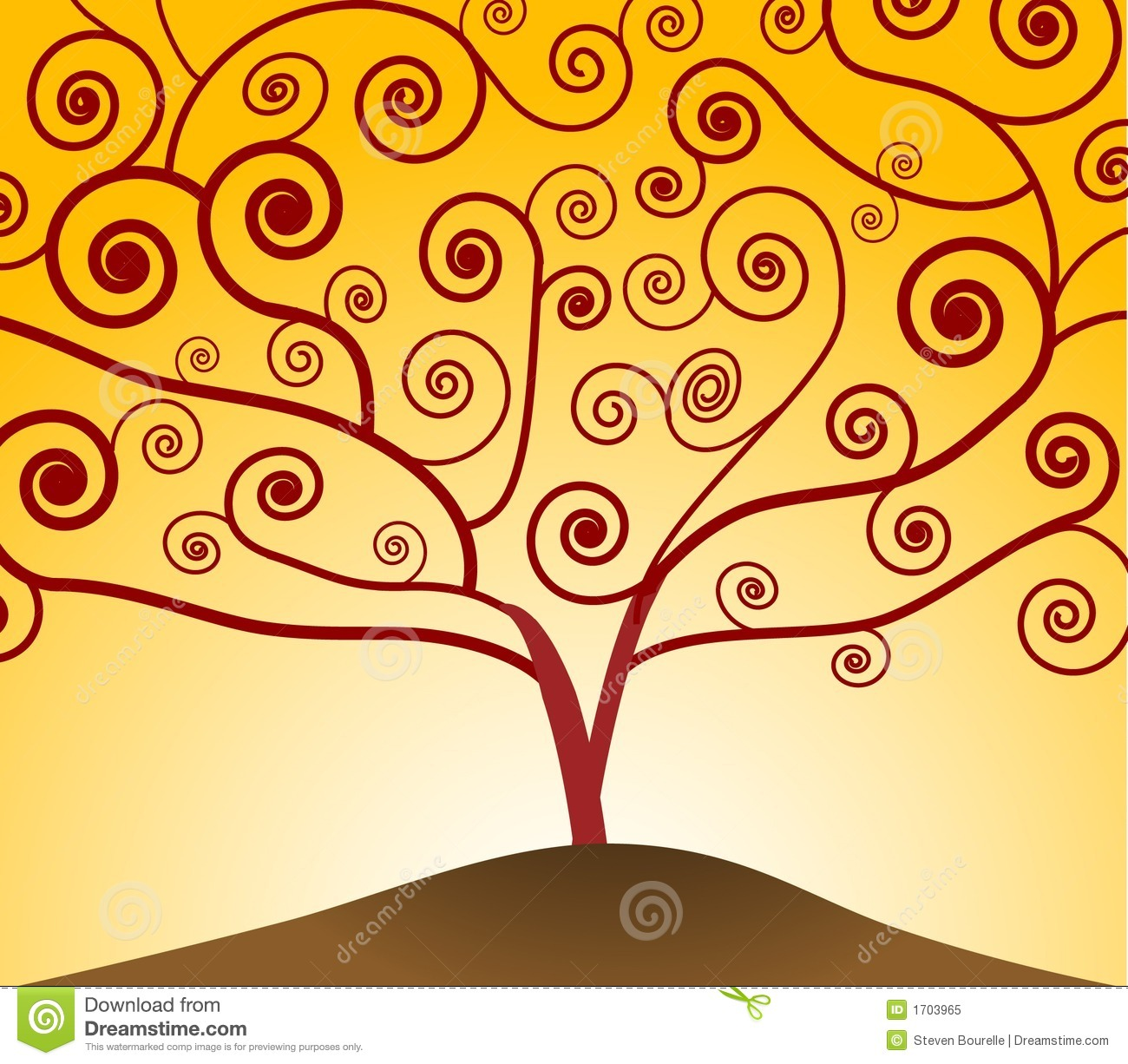 Art Nouveau Yellow Art Nouveau Tree Stock Vector Illustration Of Floral 1703965