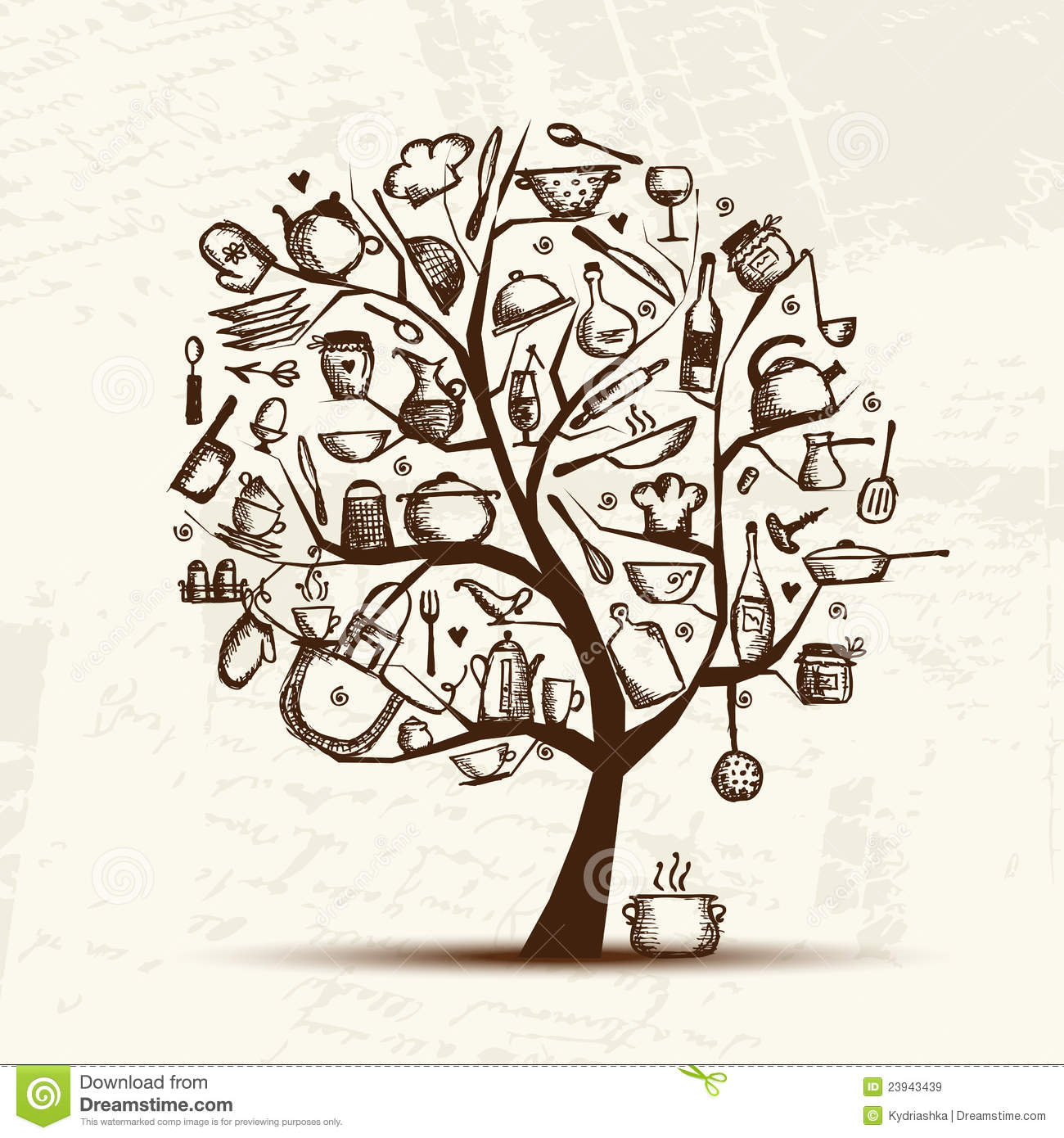 Geschirr Retro Art Tree With Kitchen Utensils, Sketch Drawing Stock