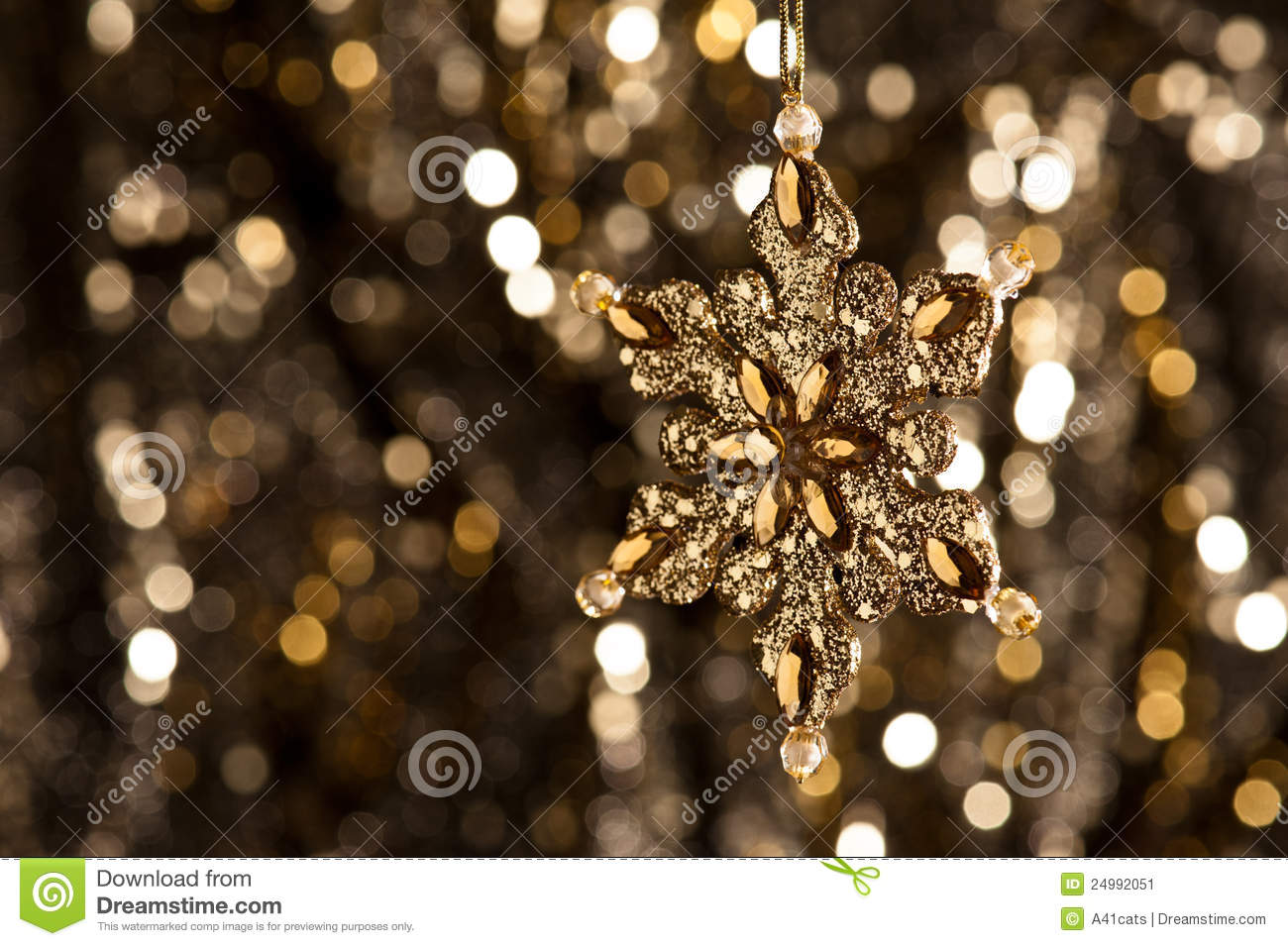 3d Nature Sunset Wallpaper Artificial Snowflake In Gold On Glitter Background Stock