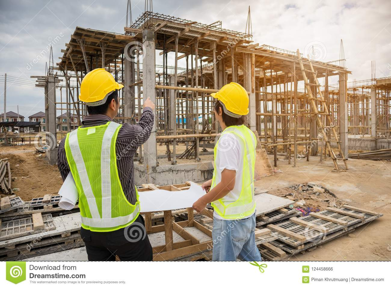 Construction Engineering Building And Asian Business Man Construction Engineer Workers At Building Site