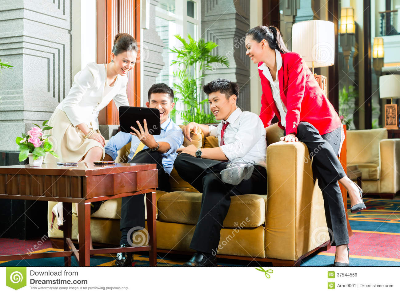 Hotel Lobby Asian Chinese Business People Meeting In Hotel Lobby Stock Photo