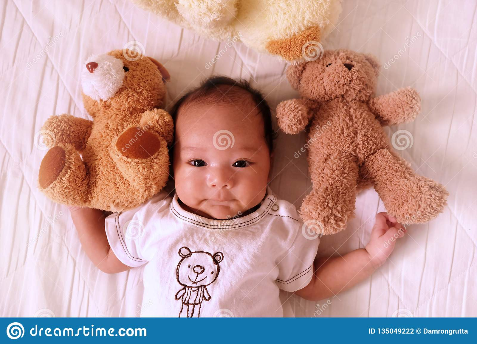 Baby Newborn Teddy Asian Cute Baby Newborn Smile And Happy Good Mood On The
