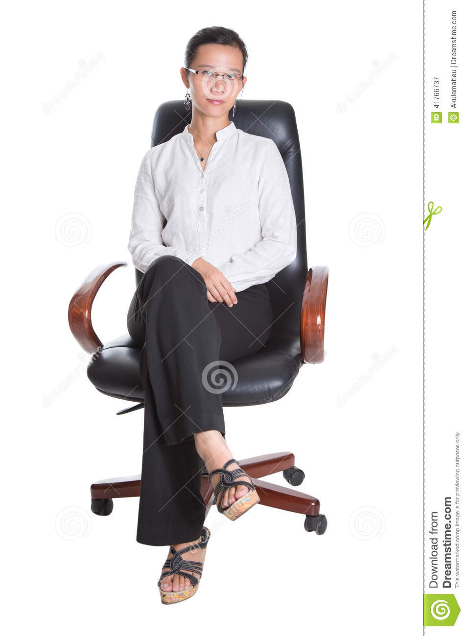 Asian Female Professional Sit On Chair I Stock Photo