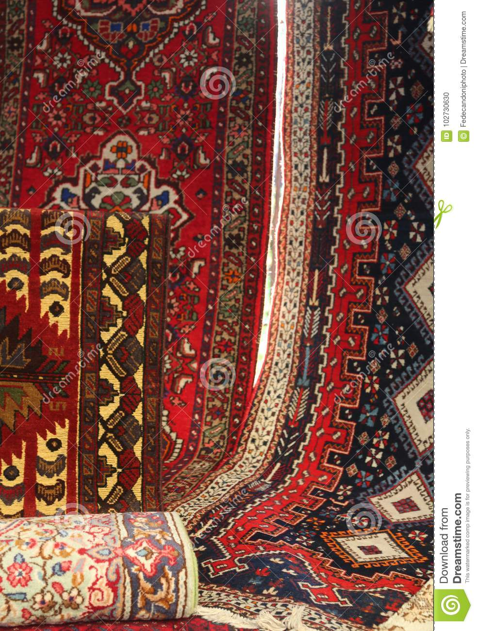 Asian Carpet Asian Rugs For Sale On The Stand Of Amarket Stock Photo Image Of