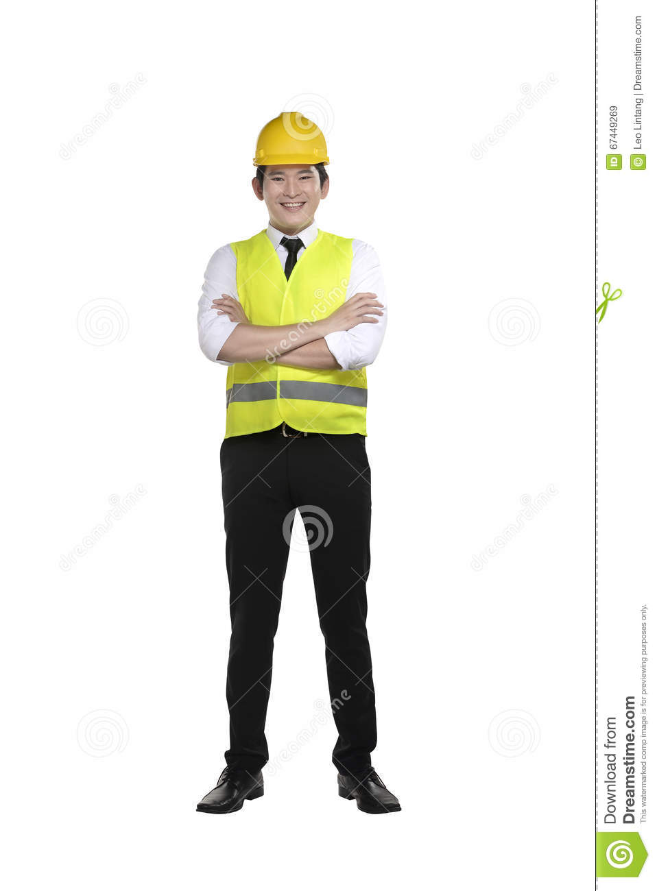 Labor Safety Asian Worker Wearing Safety Vest And Yellow Helmet Stock Image