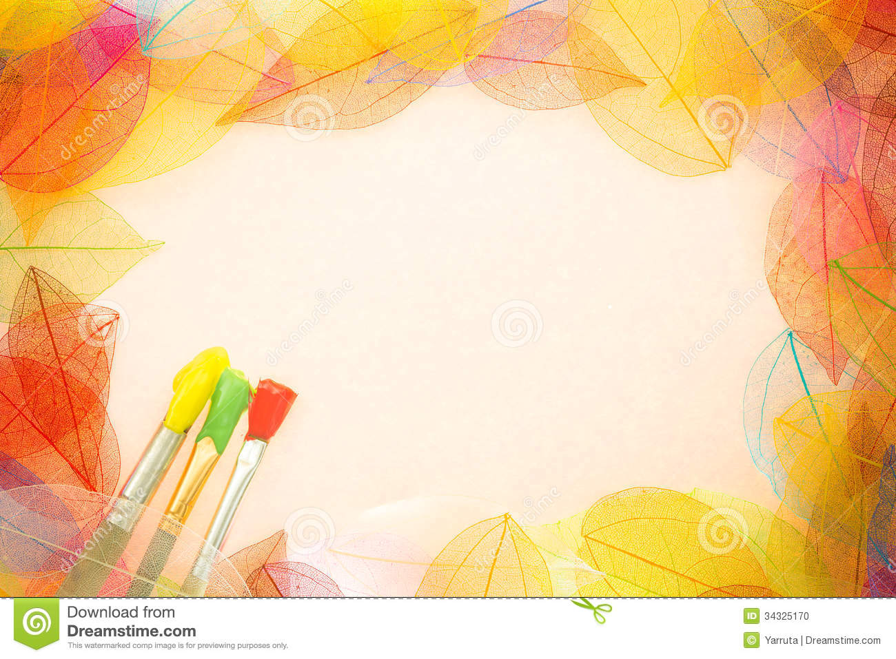 Fall Leaves Wallpaper Border Autumn Art Background Stock Photo Image 34325170