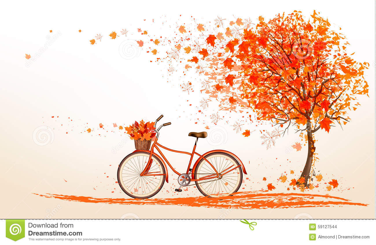 Cool Graffiti Wallpapers Hd Autumn Background With A Tree And A Bicycle Stock Vector