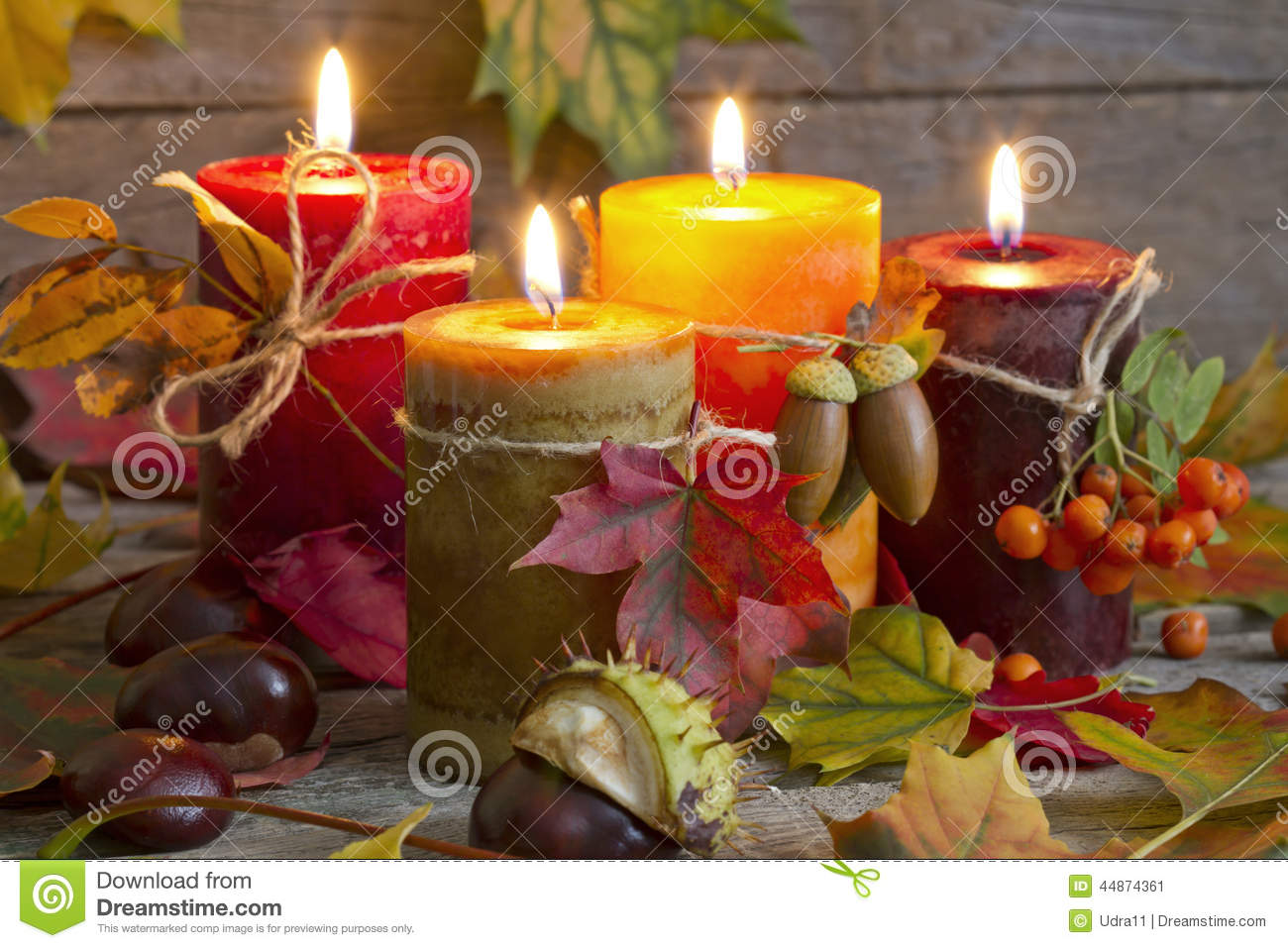 Fall Candles Wallpaper Autumn Candles With Leaves Vintage Abstract Still Life