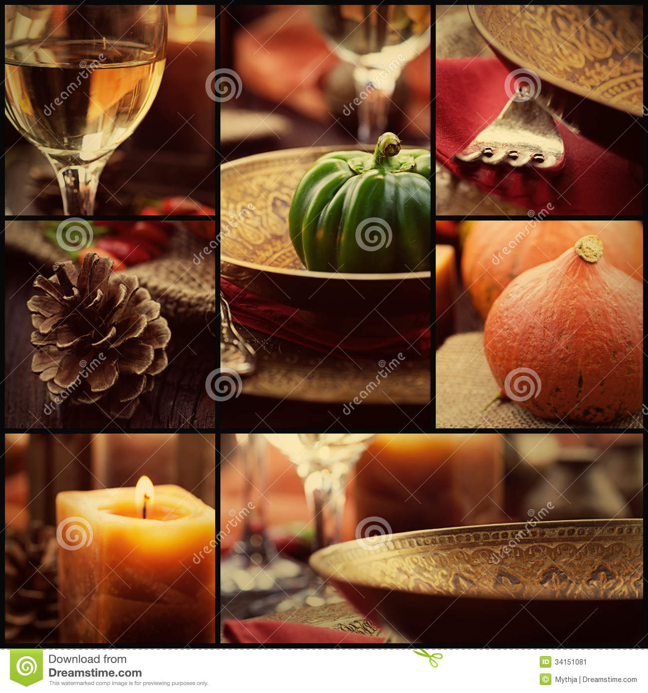 Fall Candles Wallpaper Autumn Dinner Collage Stock Image Image Of Gold Cutlery