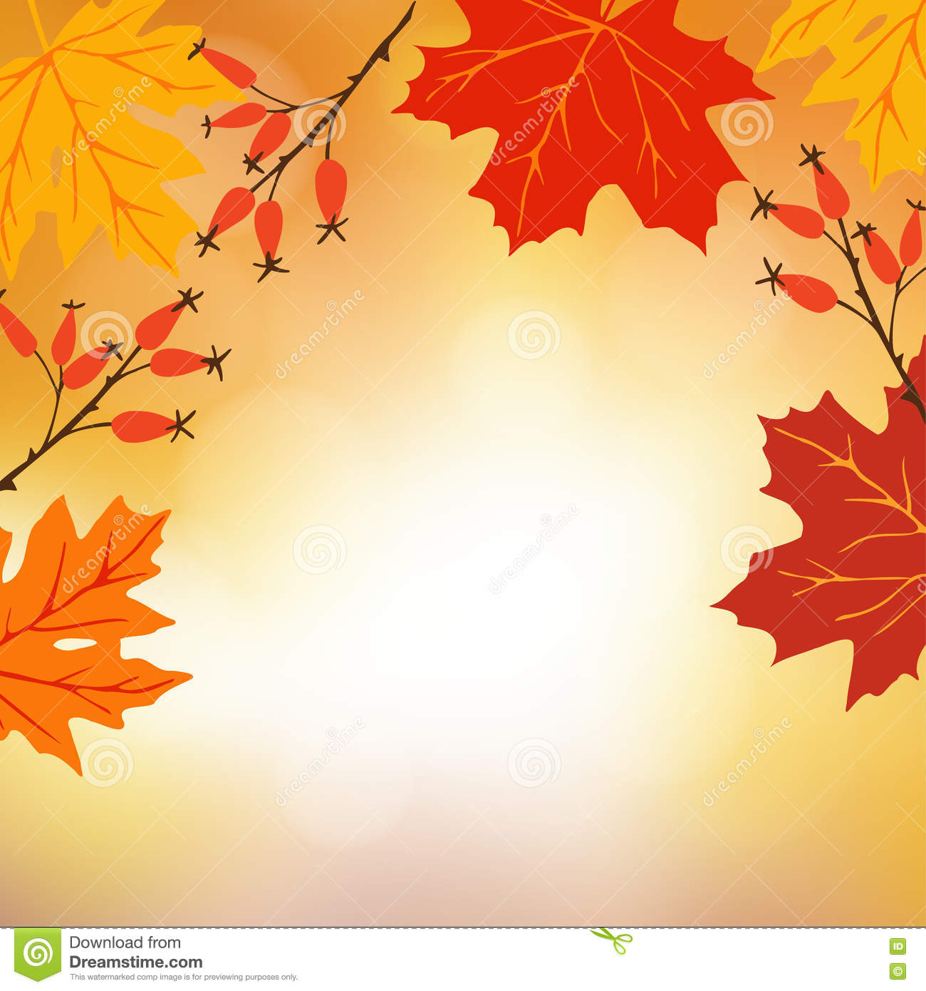 Falling Maple Leaves Wallpaper Autumn Fall Background Greeting Card With Hand Drawn