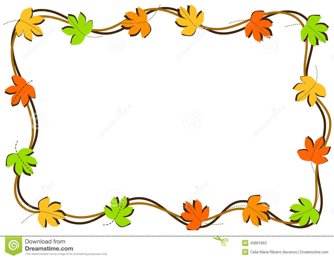 Fall Christian Wallpaper Autumn Leaves Border Frame Stock Illustration Image