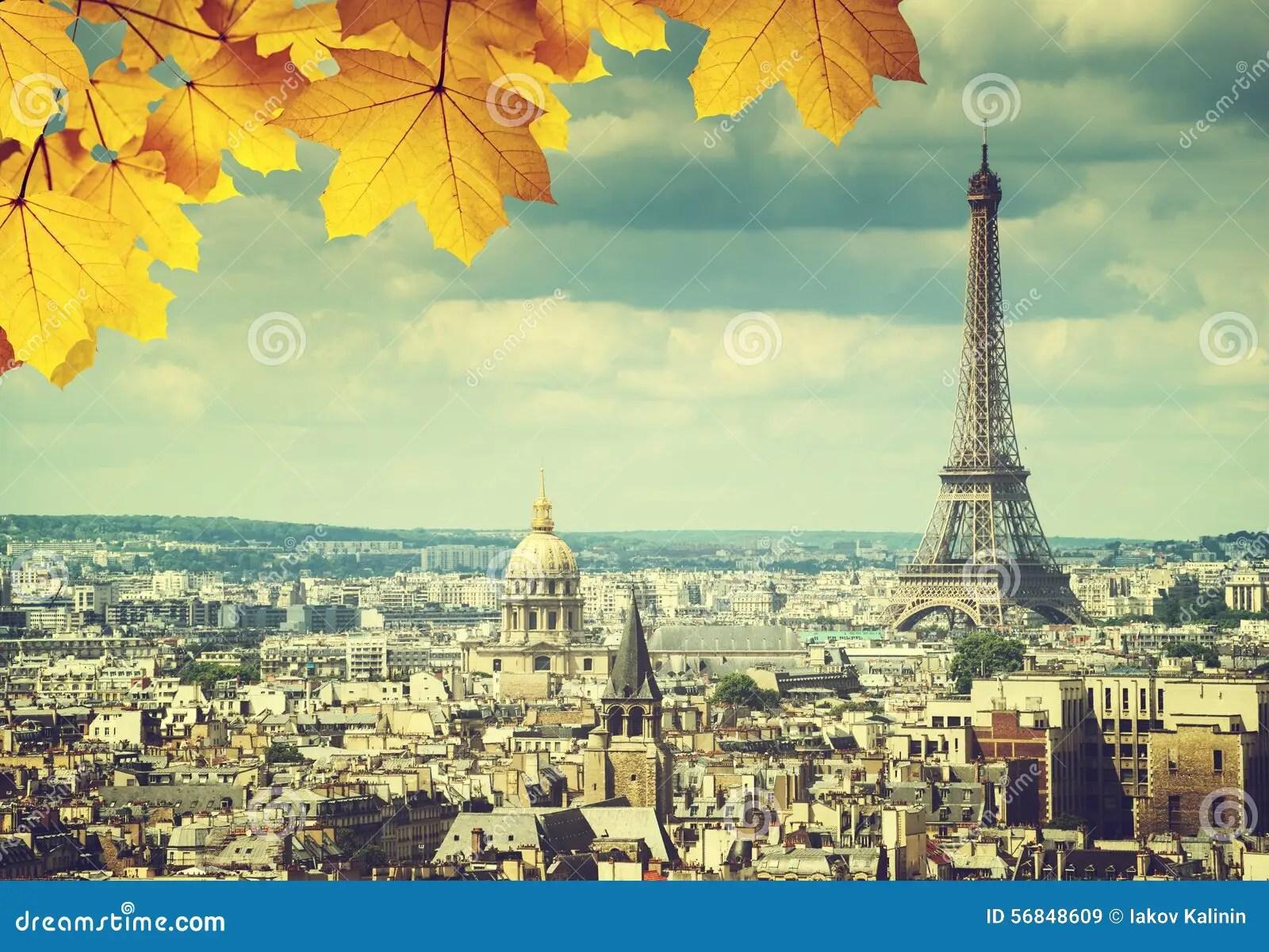 Fall Season Wallpaper Free Autumn Leaves In Paris And Eiffel Tower Stock Photo