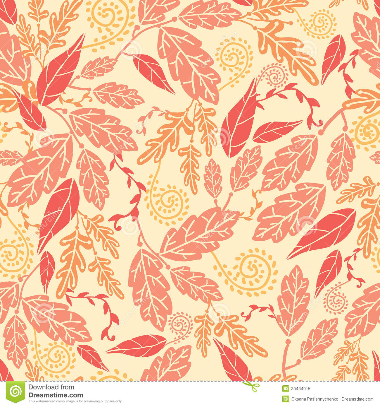 The Yellow Wallpaper Falling Action Autumn Leaves Seamless Pattern Background Stock Vector
