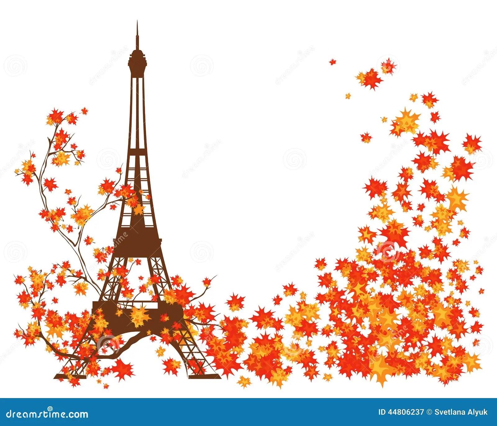 Fall Leaves Clip Art Wallpaper Autumn In Paris Stock Vector Illustration Of France