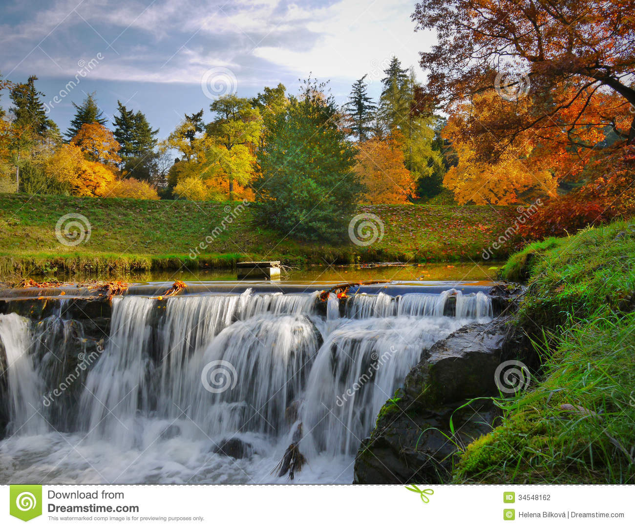 Fall Leaves Wallpaper Windows 7 Autumn Scenery Waterfalls Park Landscape Stock Photography