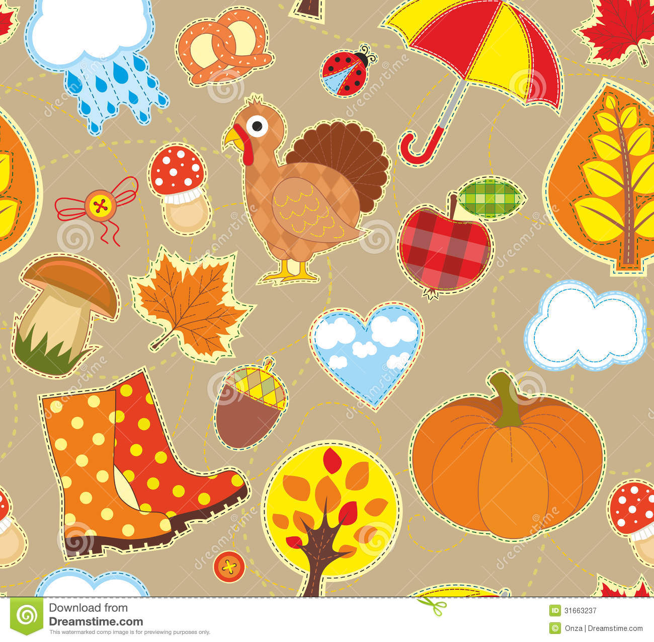Fall Pumpkin Patch Wallpaper Autumn Seamless Background Royalty Free Stock Photography