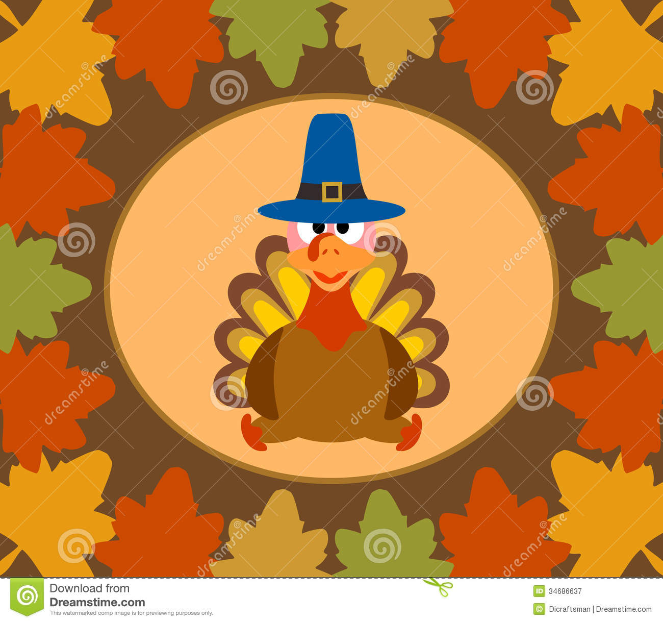 Happy Fall Wallpapers Autumn Thanksgiving Day Background With Turkey Royalty