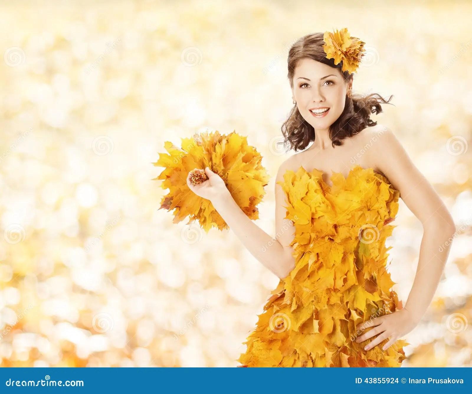 Beautiful Expersion Girl Wallpapers Autumn Woman Leaves Dress Fall Season Fashion Stock Photo