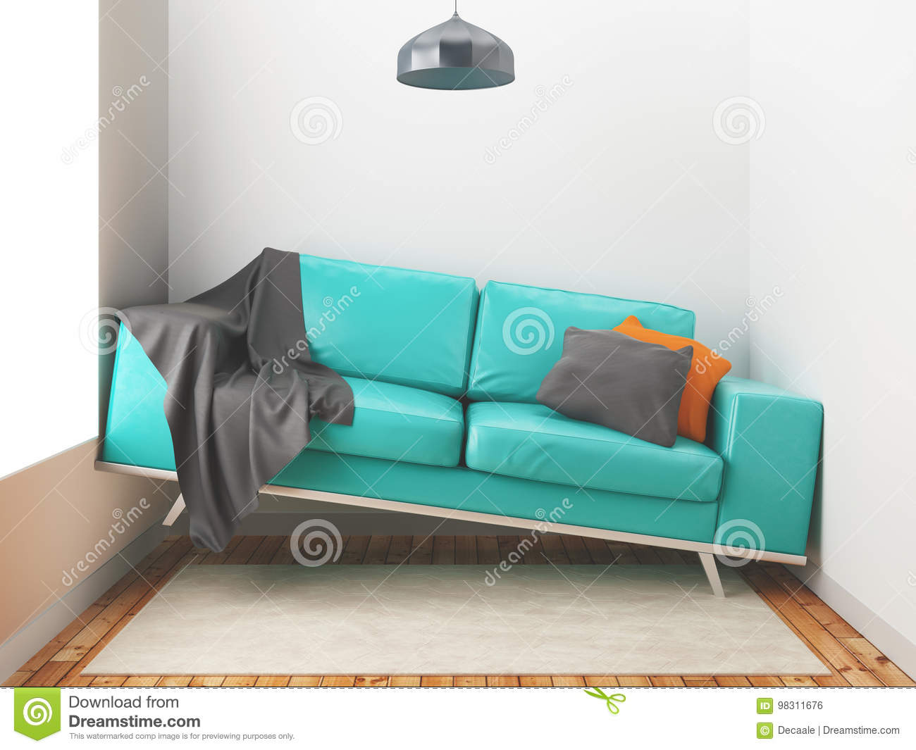 Awry Sofa Big Sofa In A Small Room 3d Render Illustration Stock Illustration Illustration Of Background Pillow 98311676