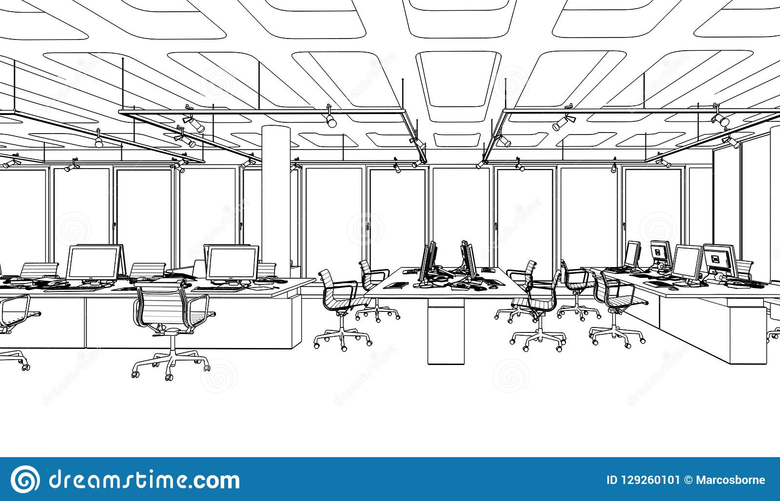 Büroeinrichtung Stock Office Furniture Sketch Stock Illustration Illustration Of