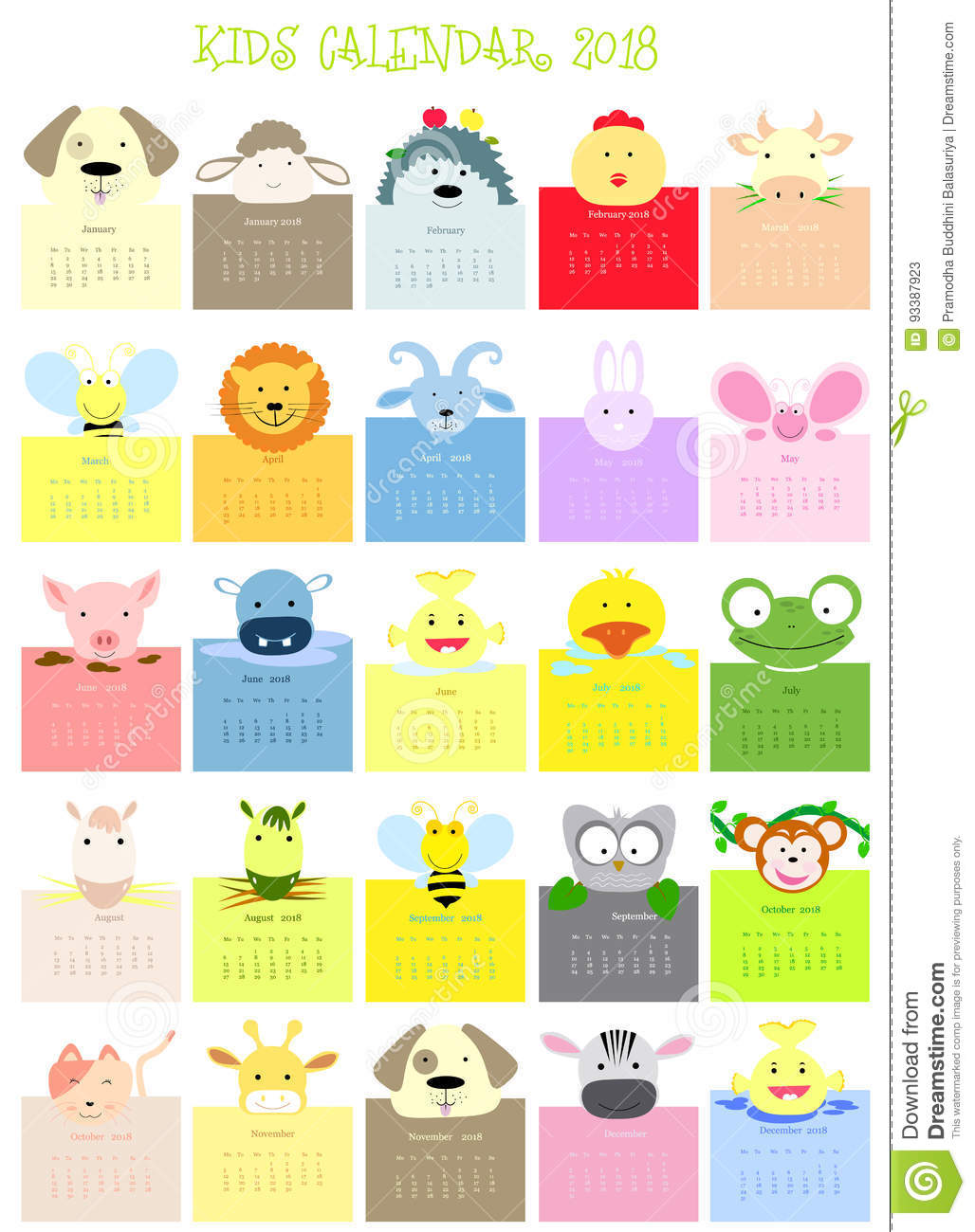 Los Meses En Ingles Baby Animal Face Calendar Stock Illustration Illustration