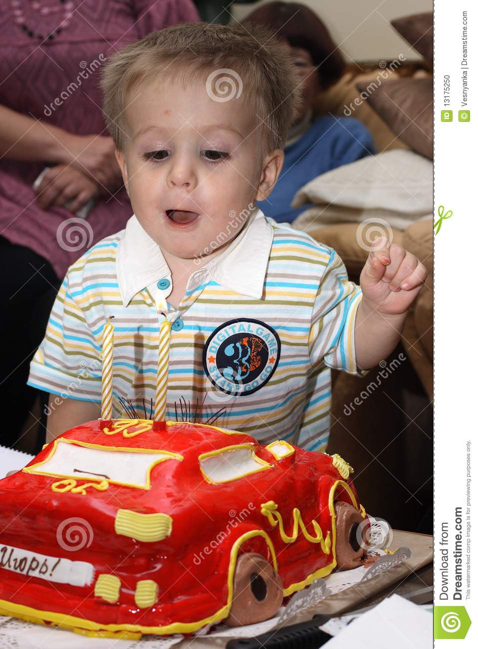 Toddler 2 Years Old Birthday Baby Blowing Out The Candles Stock Photo Image Of Face