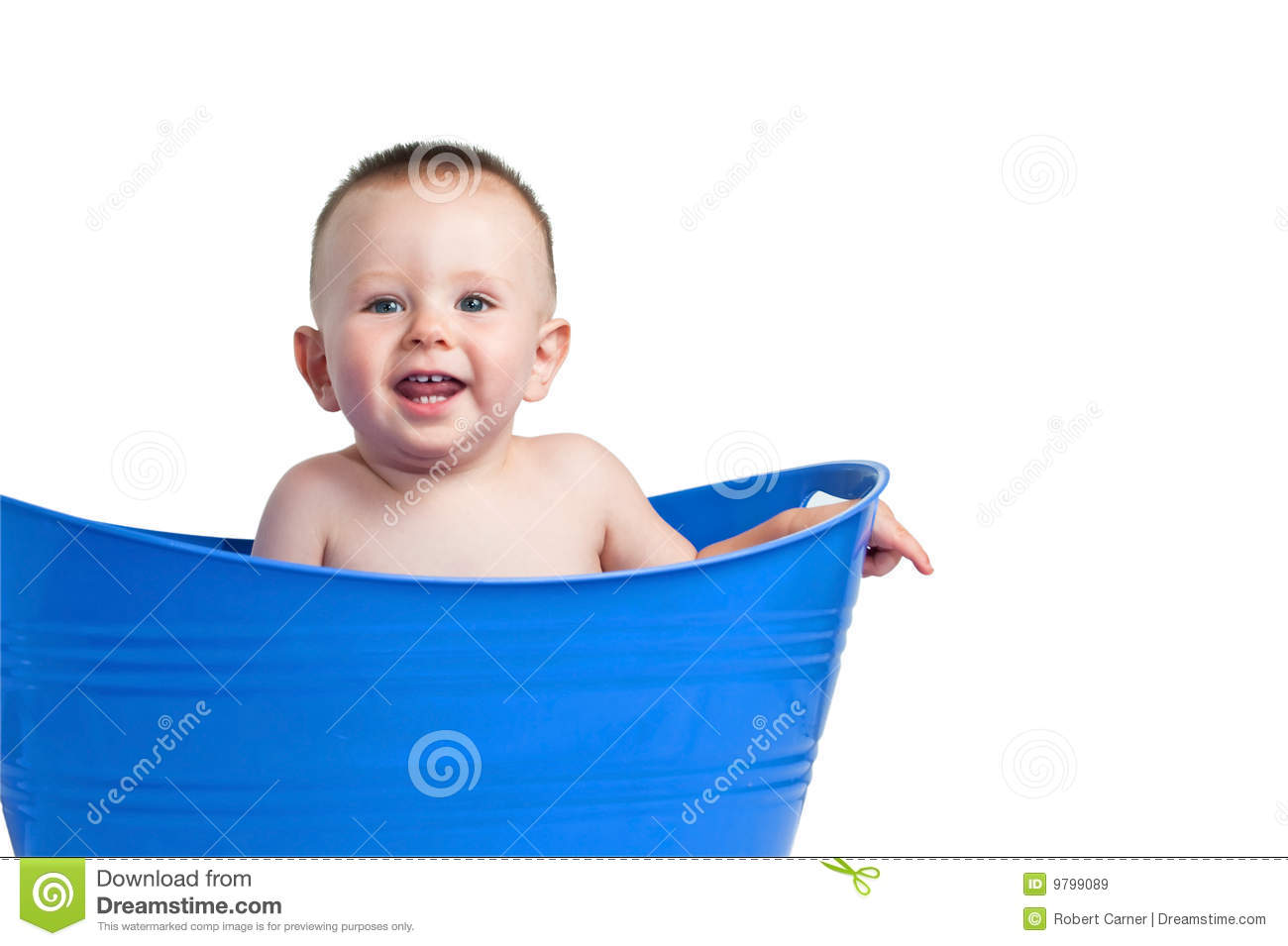 Baby Laundry Bin Baby In Blue Laundry Basket Royalty Free Stock Images