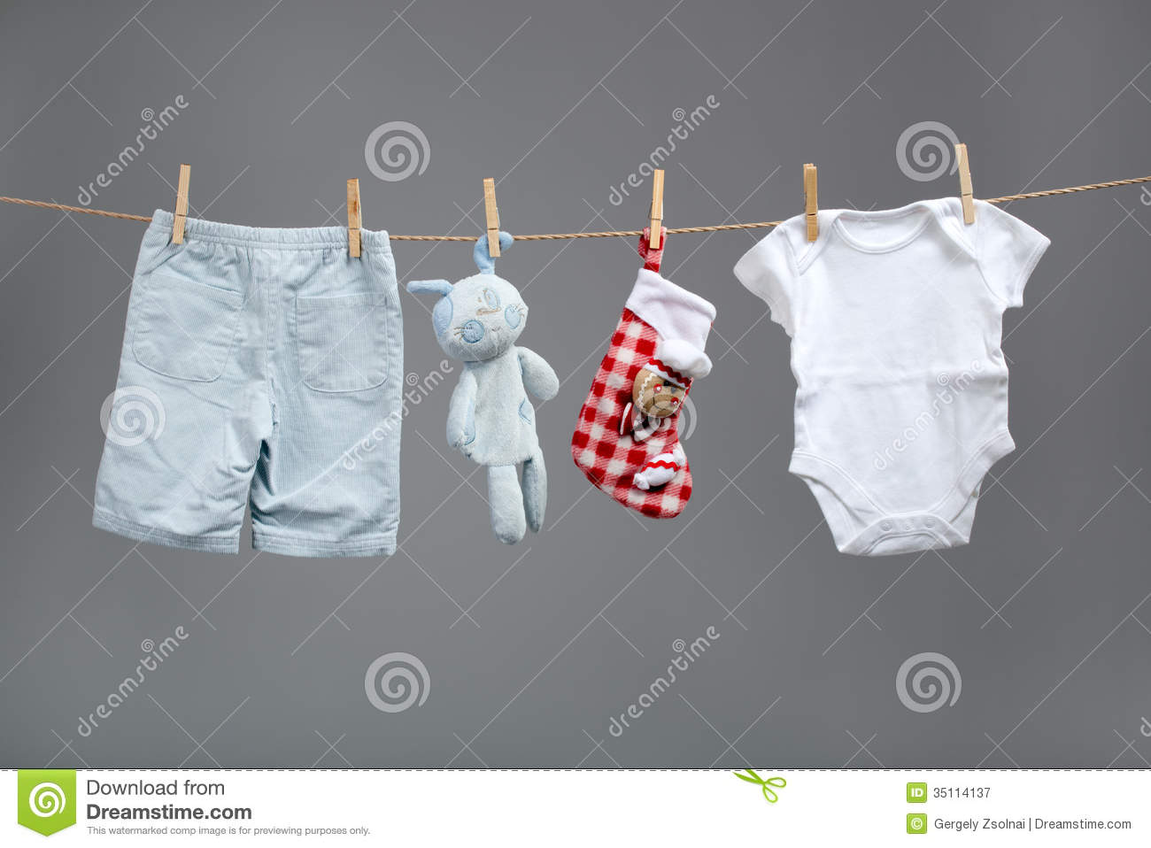 Laundry Bag For Baby Clothes Baby Boy Clothes With Santa Bags On The Clothesline