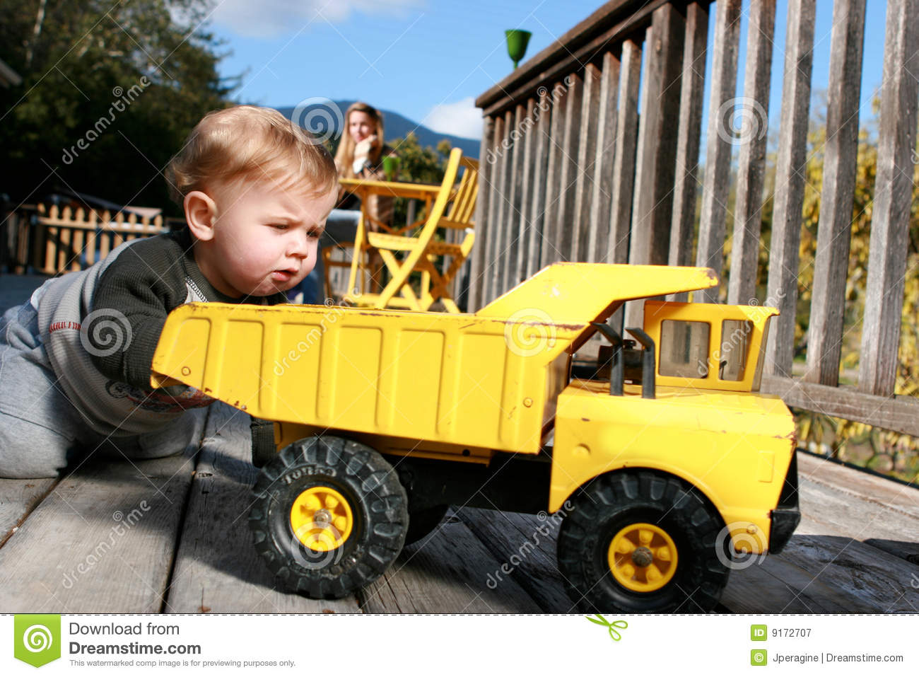 Baby Truck Baby Boy Playing With Truck Royalty Free Stock Photography