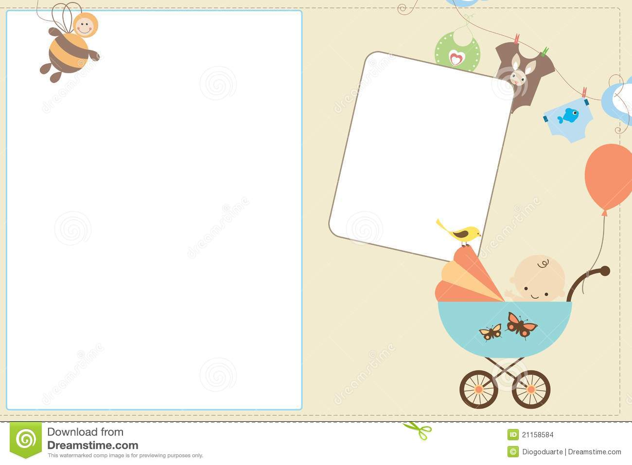 Stroller Baby Born Baby Card Stock Images Image 21158584