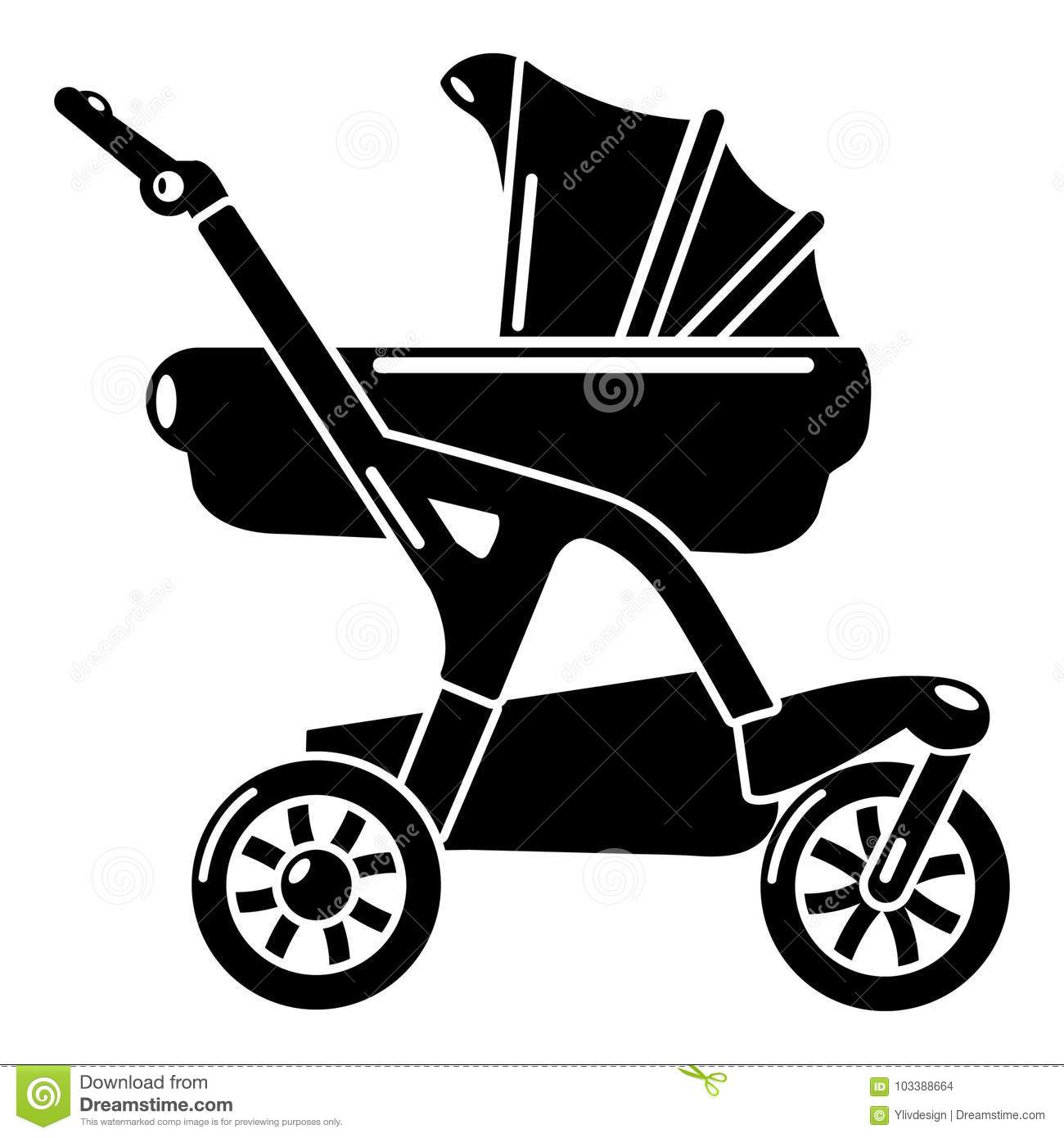 Baby Pram Designer Baby Carriage Designer Icon Simple Black Style Stock Vector