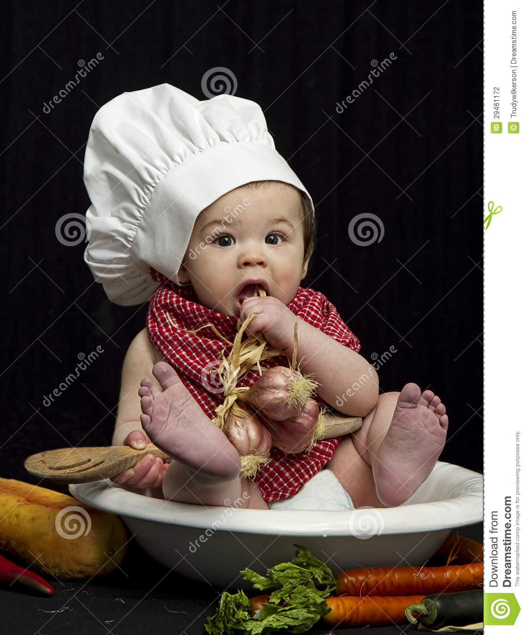 Cute Chef Wallpaper Baby Chef Eating Stock Photo Image Of Attire People