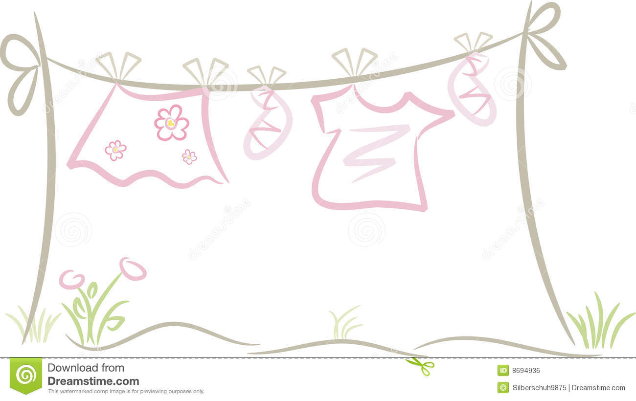 Baby girl clothing on washing line royalty free stock
