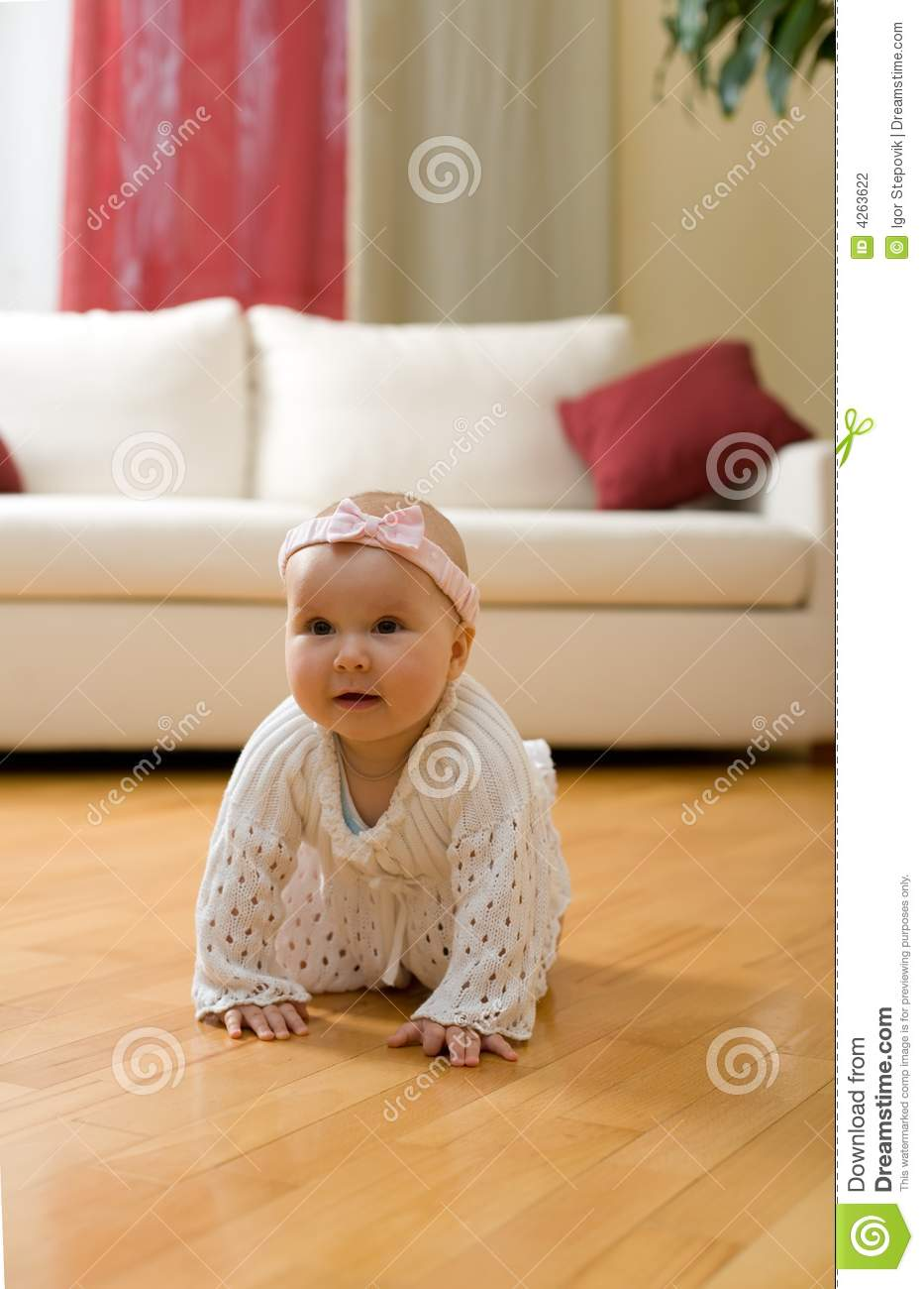 Sofa Orange Baby Girl Crawling On A Floor Stock Photography - Image