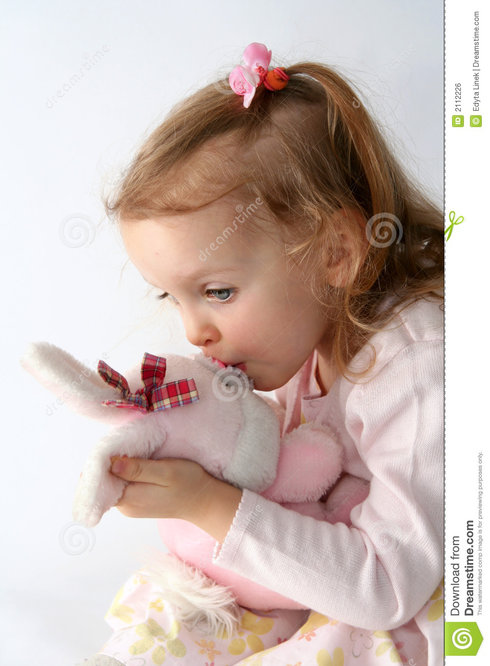 Cute Small Baby Girl Wallpapers Baby Girl And Pink Bunny Stock Photo Image Of Portrait