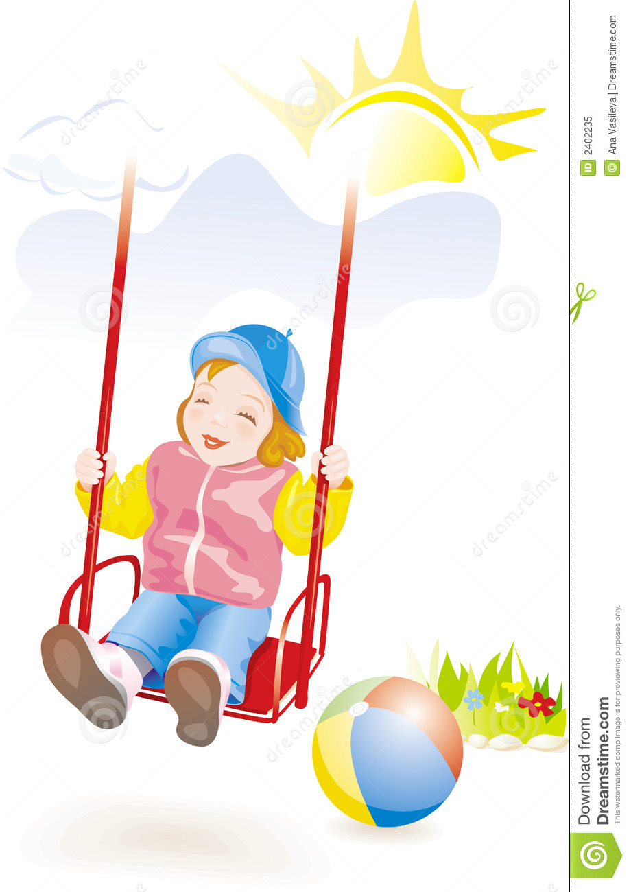 Girl With Cap Wallpaper Baby Girl On Swing Vector Stock Vector Illustration Of