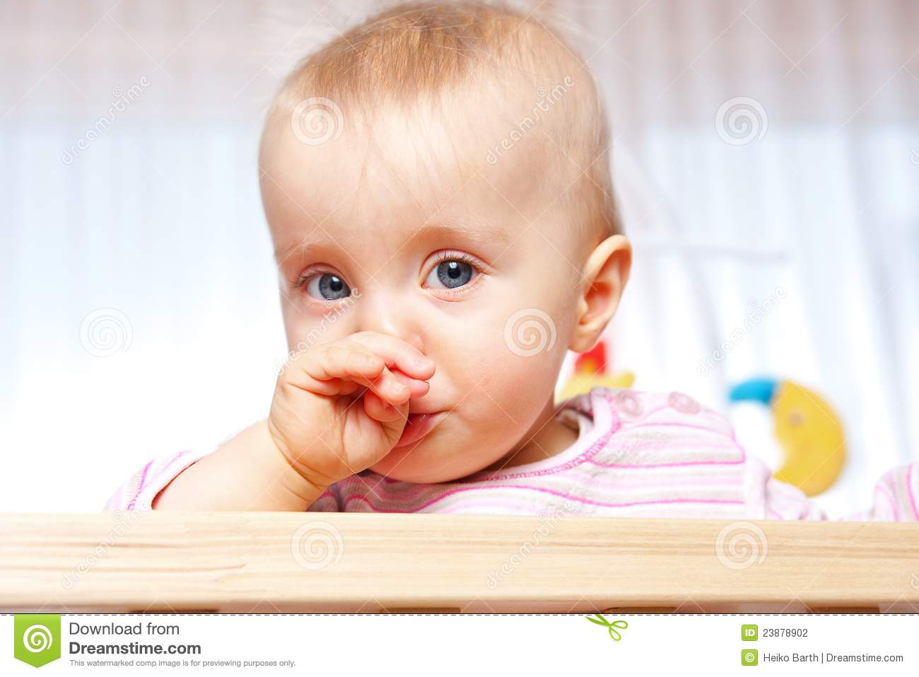 Playpen Baby Playing Baby Has A Cold Stock Photo Image Of Girl Kindergarten