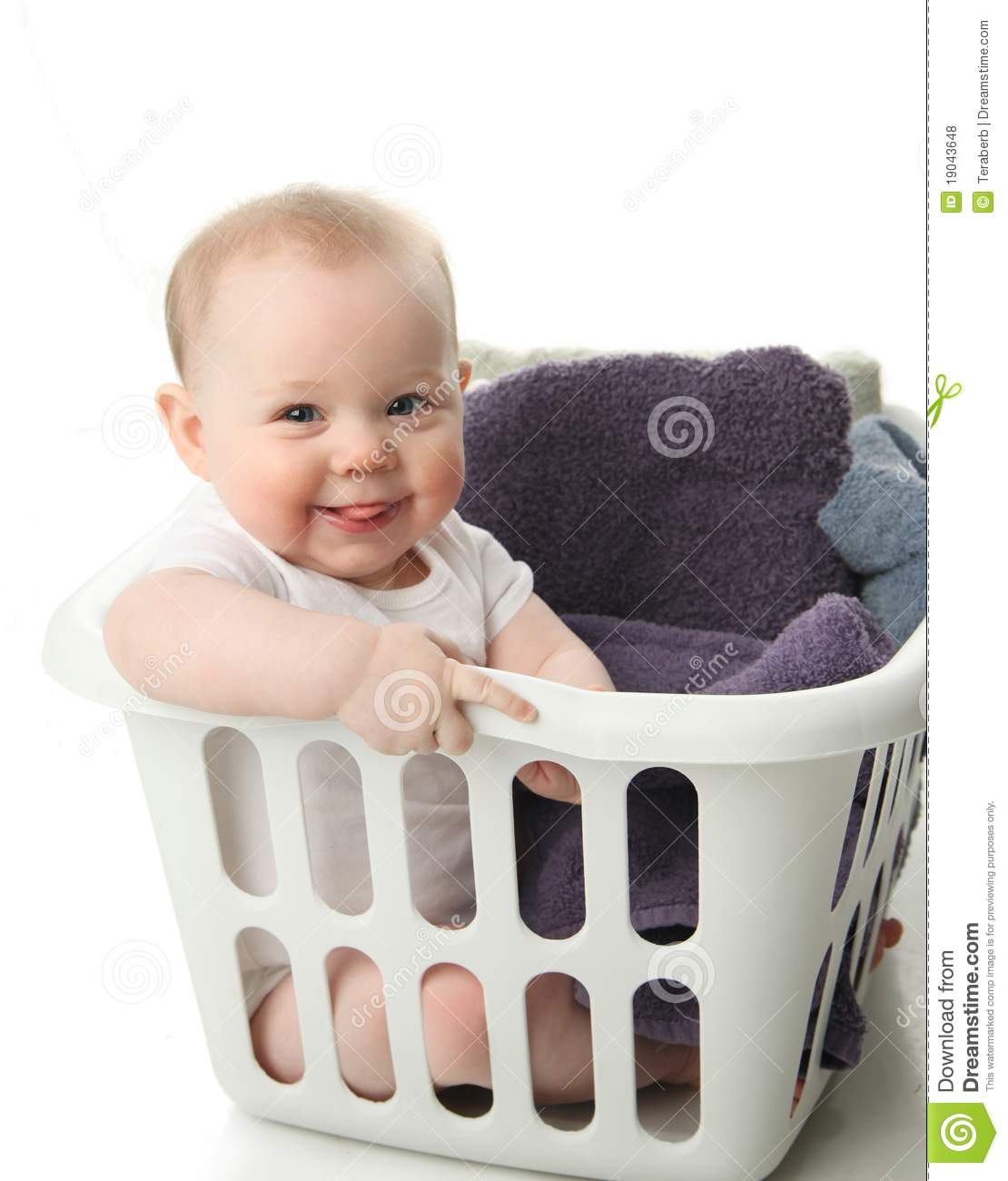 Baby Laundry Bin Baby In A Laundry Basket Royalty Free Stock Photos Image