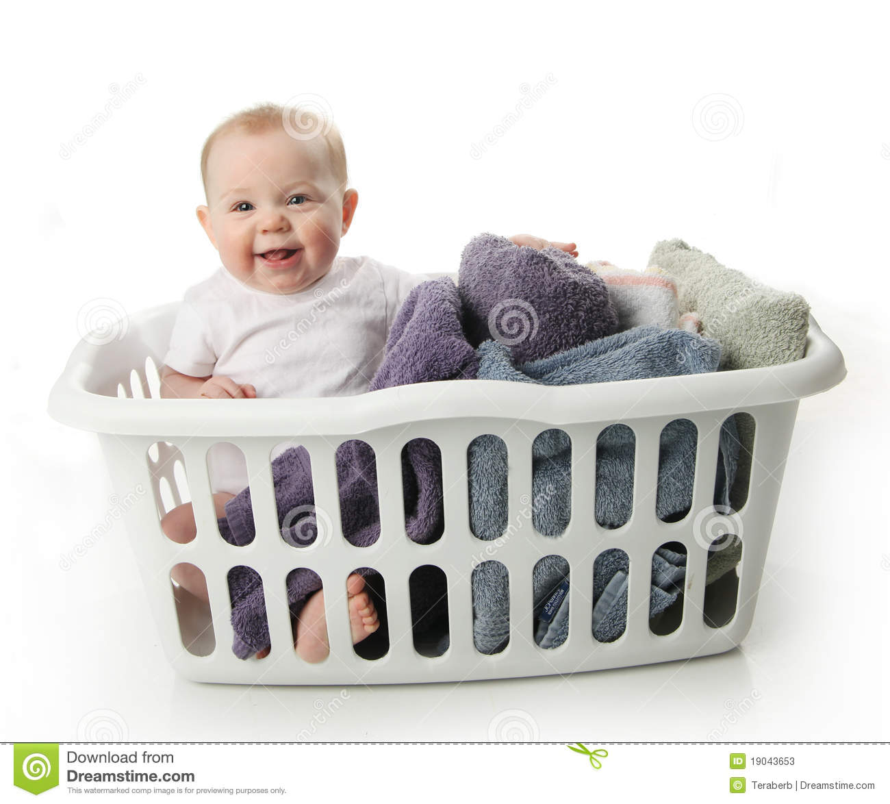 Baby Laundry Bin Baby In A Laundry Basket Stock Photos Image 19043653