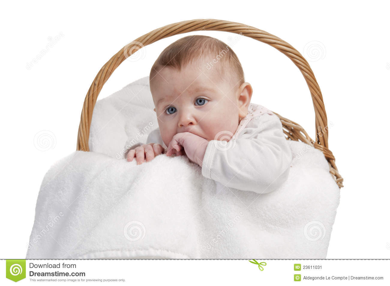 Baby Laundry Bin Baby In Laundry Basket Stock Image Image 23611031