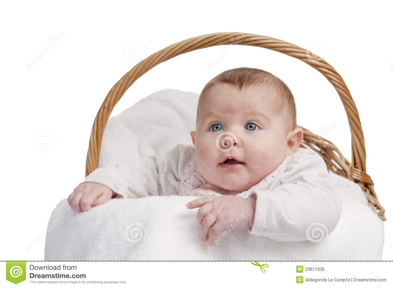 Baby Laundry Bin Baby In Laundry Basket Royalty Free Stock Photo Image