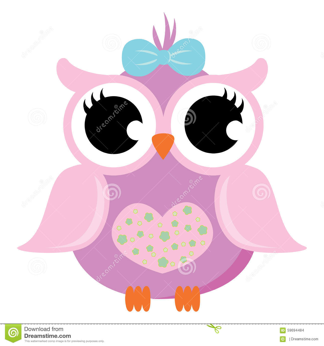 Cute Owl Cartoon Wallpaper Pink Baby Owl With Ribbon Vector Stock Illustration