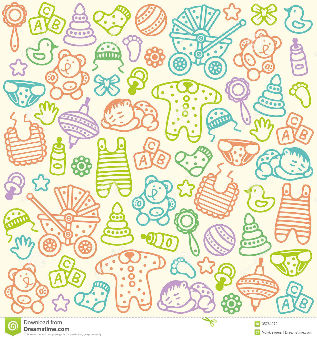 Newborn Baby Girl Wallpaper Baby Pattern Stock Vector Illustration Of Sunny Play