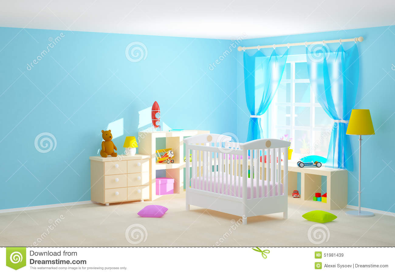Floor Shelves For Bedroom Baby Room With Floor Shelves Stock Illustration Image