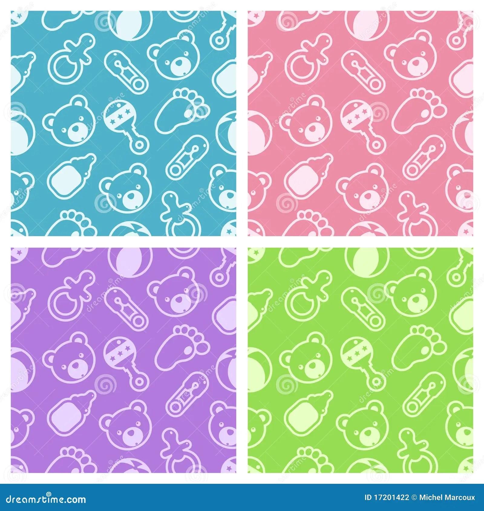 Girl Baby Shower Wallpaper Baby Shower Seamless Patterns Stock Vector Image 17201422